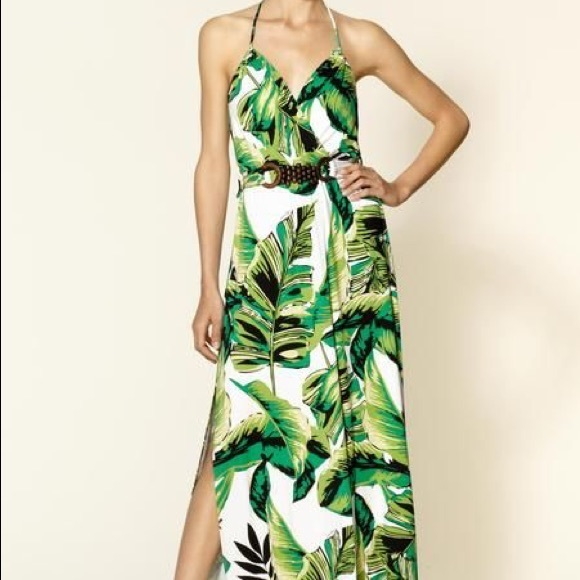 Milly of New York Dresses & Skirts - Milly of New York green halter palm print maxi
